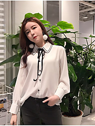 Really making double lapel bow tie knot single-breasted long-sleeved chiffon shirt female