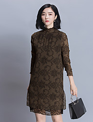 2017 spring new Slim thin long section of pressure crepe dress