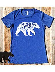 2017 verão novos tiro real em torno do pescoço t-shirt ursos europeus e americanos mommabear