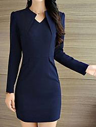 Women's Going out Party Sexy Tunic Dress,Solid V Neck Mini Long Sleeve Cotton Summer Low Rise Stretchy Thin