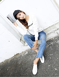 Sign in 17 spring models Korean high waist jeans flared trousers burr hole was thin Weila pantyhose
