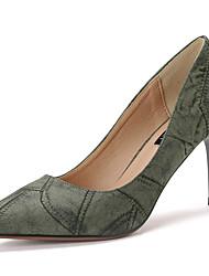 Damen-High Heels-Kleid-Wildleder-Stöckelabsatz-Komfort-Schwarz Braun Grün