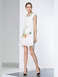 Ample Robe Femme Sortie Chinoiserie,Fleur Col Arrondi Au dessus du genou Manches Courtes Autres Toutes les Saisons Taille Haute