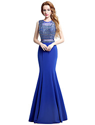 Mermaid / Trumpet Jewel Neck Floor Length Jersey Formal Evening Dress with Beading