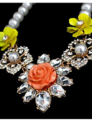 Women's Pendant Necklaces Multi-stone Imitation Pearl Gem Chrome Flower Style Fashion Euramerican Jewelry ForParty Special Occasion