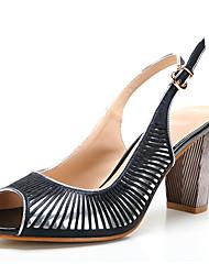 Feminino-Sandálias-Chanel Sapatos clube-Salto Grosso-Prata/Black-Sintético Couro Envernizado Courino-Escritório & Trabalho Social Casual