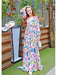Le nouveau style avancé de la bohemian sexy sexy profonde v-cou robe robe de plage imprimé robe de dentelle
