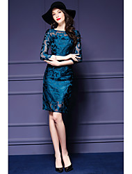 Women's Lace Going out Casual/Daily Bodycon Dress,Solid Round Neck Asymmetrical ¾ Sleeve Polyester Spring Summer High Rise Micro-elastic Medium