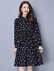 signe robe de velours côtelé printemps 2017 nouvelle impression robe mince sauvage de mode unique