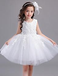 Robe de bal courte / mini robe de fille fleur - dentelle Tulle en satin tulle sans manches avec applique