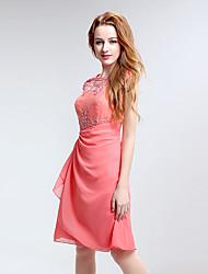 Joelho-comprimento chiffon vestido de dama de honra - jóia bainha / coluna com bordado