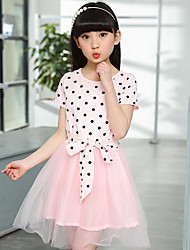 Girl's Cotton Sweet Going out Casual/Daily Holiday Polka Dot Print Lace Bow Patchwork Princess Dress Cotton Summer Short Sleeve White Red Black