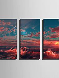 E-HOME Stretched Canvas Art The Setting Sun Under The Waves Decoration Painting Set Of 3