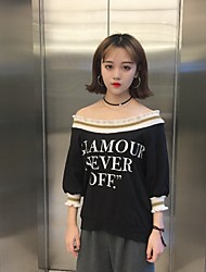tiro real - colar t-shirt solto ouvido letras de impressão de madeira