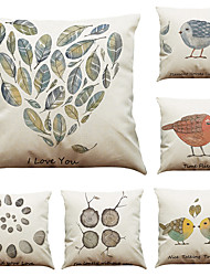 Set of 6 Pastoral Couple Bird  Pattern  Linen Pillowcase Sofa Home Decor Cushion Cover (18*18inch)