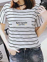unterzeichnen neue Baumwollfrauen&# 39; s gestreifte T-Shirt-Druck Hemd grundiert kurzer Absatz College Wind Rundhals Kurzarm Flut