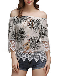Women's Going out Casual/Daily Vintage Sophisticated Blouse,Print Boat Neck ½ Length Sleeve Cotton Rayon