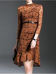 venta de primavera 2017 nueva ola de mujeres&# 39; s vestido de encaje irregular de la cintura atractiva temperamento hueco