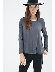 Comércio exterior na Europa e América 2016 outono novo cinza escuro redondo pescoço de mangas compridas t-shirt modelos básicos soltos