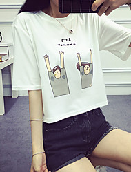 Real shot summer 2017 new cartoon short paragraph short-sleeve T-shirt exposed navel waist woman