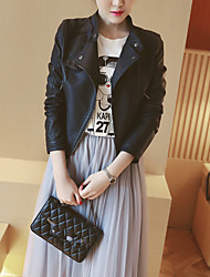 Women's Going out Simple Spring Leather Jacket,Solid Notch Lapel Long Sleeve Short Others