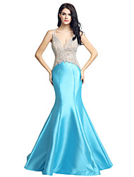 Mermaid / Trumpet V-neck Sweep / Brush Train Satin Formal Evening Dress with Beading