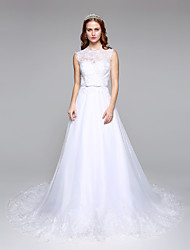 A-line Wedding Dress Simply Sublime Floor-length Jewel Lace Tulle with Lace Sash / Ribbon