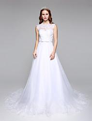 Lanting Bride® Trapèze Robe de Mariage  Tout Simplement Superbe Longueur Sol Bijoux Dentelle Tulle avec Dentelle Ceinture / Ruban