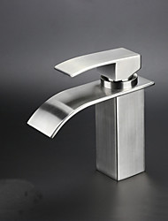Contemporary Vessel Waterfall with  Ceramic Valve One Hole Single Handle One Hole for  Nickel Brushed , Bathroom Sink Faucet