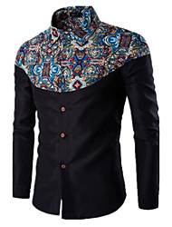 Men's Fashion Casual Fight Color National Style Long-Sleeved Shirt