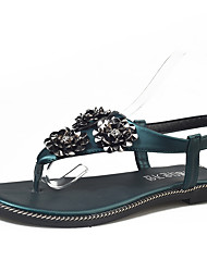 Sandals Summer Club Shoes Leatherette Outdoor Office & Career Dress Flat Heel Black Gold Champagne Walking