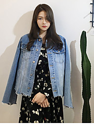 17 years of spring new irregular hem denim jacket retro female Korean student long-sleeved shirt jacket