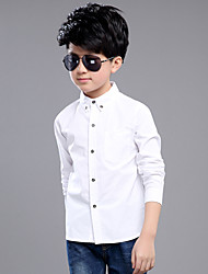 Casual/Daily Solid Shirt,Cotton Summer Spring