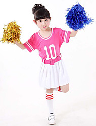 Girls' Going out Casual/Daily Sports Striped Patchwork Sets Cotton Summer Short Sleeve 2 Piece Cheerleader Clothing Set with Waist Belt