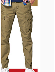 Men's Low Rise Micro-elastic Chinos Pants,Simple Loose Solid
