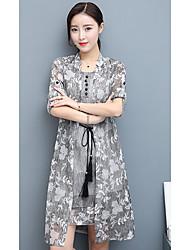 jupe costumes été 2017 nouvelle veste robe à manches longues jupe en mousseline de soie imprimée mince robe en deux parties