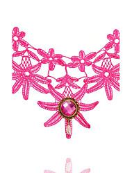 Mulheres Gargantilhas Formato Oval Formato Coroa Renda Moda Turco Clássico Preto Rosa claro Jóias ParaCasamento Festa Ocasião Especial