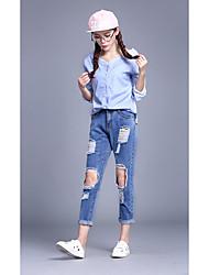 2017 nuevo agujero grande retro en el ventilador de la rodilla pantalones rectos recto primavera jeans recta femenina coreana salvaje