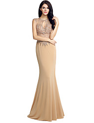 Mermaid / Trumpet Jewel Neck Floor Length Jersey Formal Evening Dress with Beading by Sarahbridal