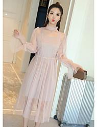 2016 hiver nouveau coréen petit palais du vent frais Xianxian robe de morceau de fil net talonnage jupe plissée