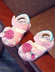 Girls' Baby Sandals Comfort Other Animal Skin Summer Casual Comfort Chunky Heel White Blushing Pink 1in-1 3/4in