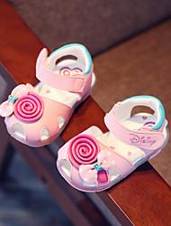 Para Meninas-Sandálias-Conforto-Salto Grosso-Branco Rosa claro-Outras Peles de Animais-Casual
