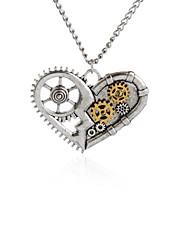 Vintage Silver Broken Heart Pendant Necklace Gear Charm Steampunk Necklaces