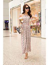 Ample Robe Femme Sortie simple Mignon,Couleur Pleine Sans Bretelles Maxi ½ Manches Coton Eté Automne Taille Normale Non Elastique Moyen