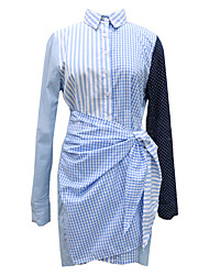 Women's Going out Simple A Line Dress,Striped Shirt Collar Mini Long Sleeve Rayon Spring Low Rise Inelastic Thin