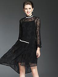 Feminino Solto Vestido,Férias Para Noite Festa/Coquetel Moda de Rua Sofisticado Sólido Colarinho Chinês Assimétrico Manga LongaRaiom