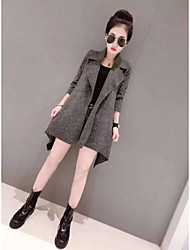 Women's Casual/Daily Simple Spring Fall Jacket,Solid Shirt Collar Long Sleeve Long Cotton