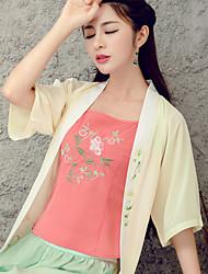 Знак литературного оригинального национального ветра ретро печати жилет женского лето элегантный вышивка дна мало ленты