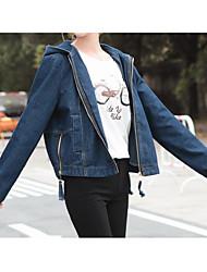 Signe korean bleu foncé denim veste femme bf vent loose denim habillement mode modèles