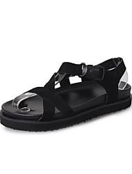Women's Sandals Comfort PU Spring Summer Casual Dress Comfort Hook & Loop Flat Heel Black Gray Green Flat